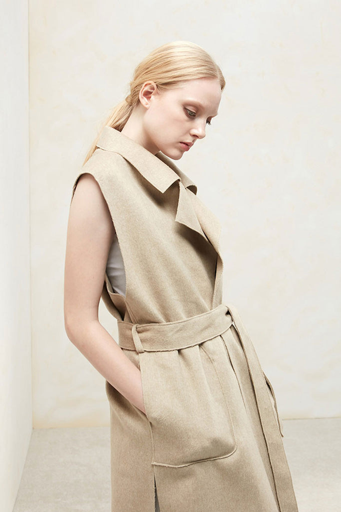 Althea - Collared and Belted Wool Gilet - Beige - Front