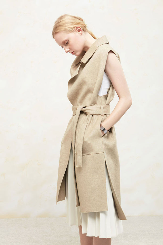 Althea - Collared and Belted Wool Gilet - Beige - Side
