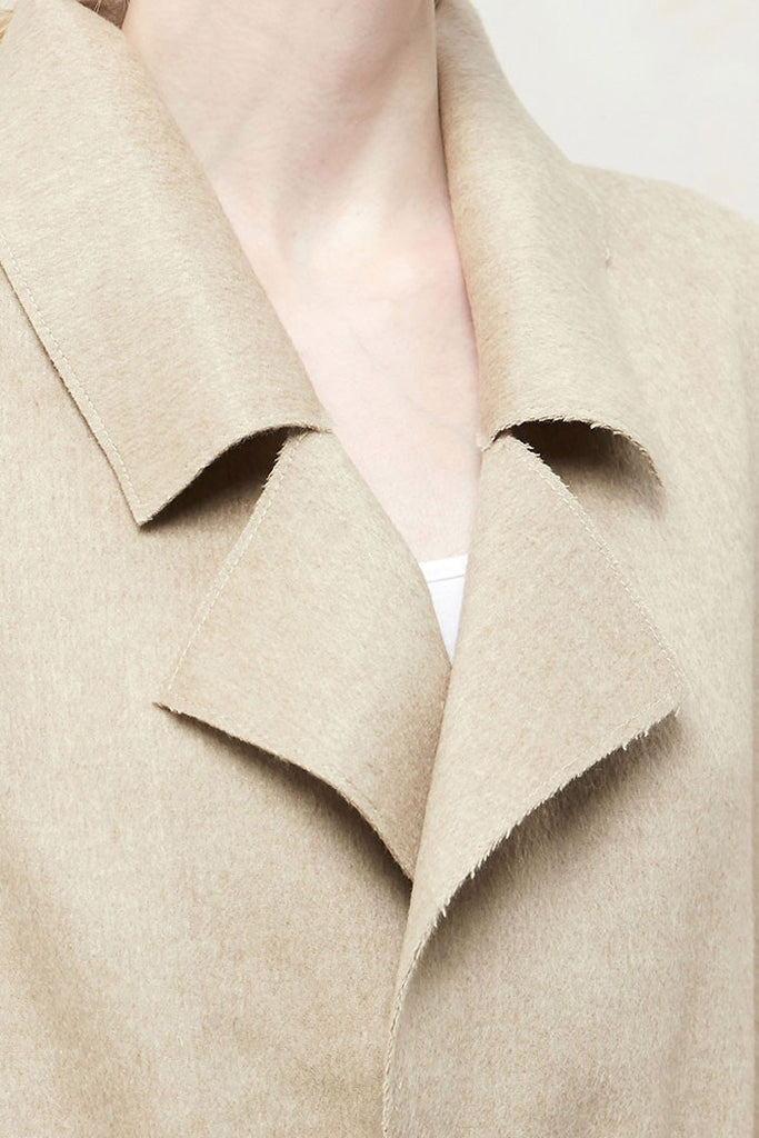 Althea - Collared and Belted Wool Gilet - Beige - Detail