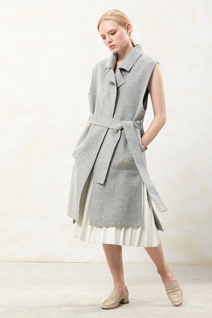Althea - Collared and Belted Wool Gilet - Grey - Look