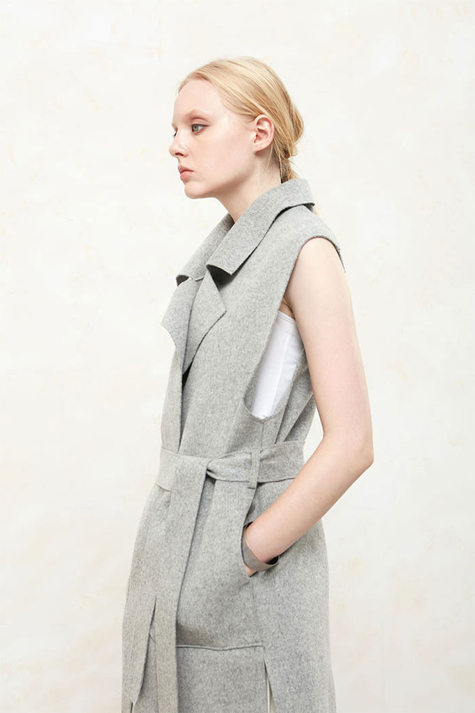 Althea - Collared and Belted Wool Gilet - Grey - Side