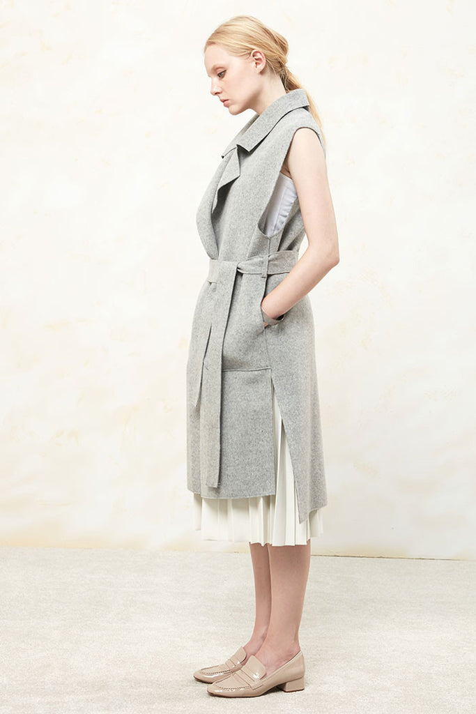 Althea - Collared and Belted Wool Gilet - Grey - Body