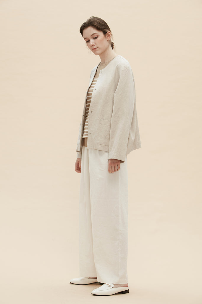 Daisy Dee - Scoop Neck Linen Jacket - Zelle Studio