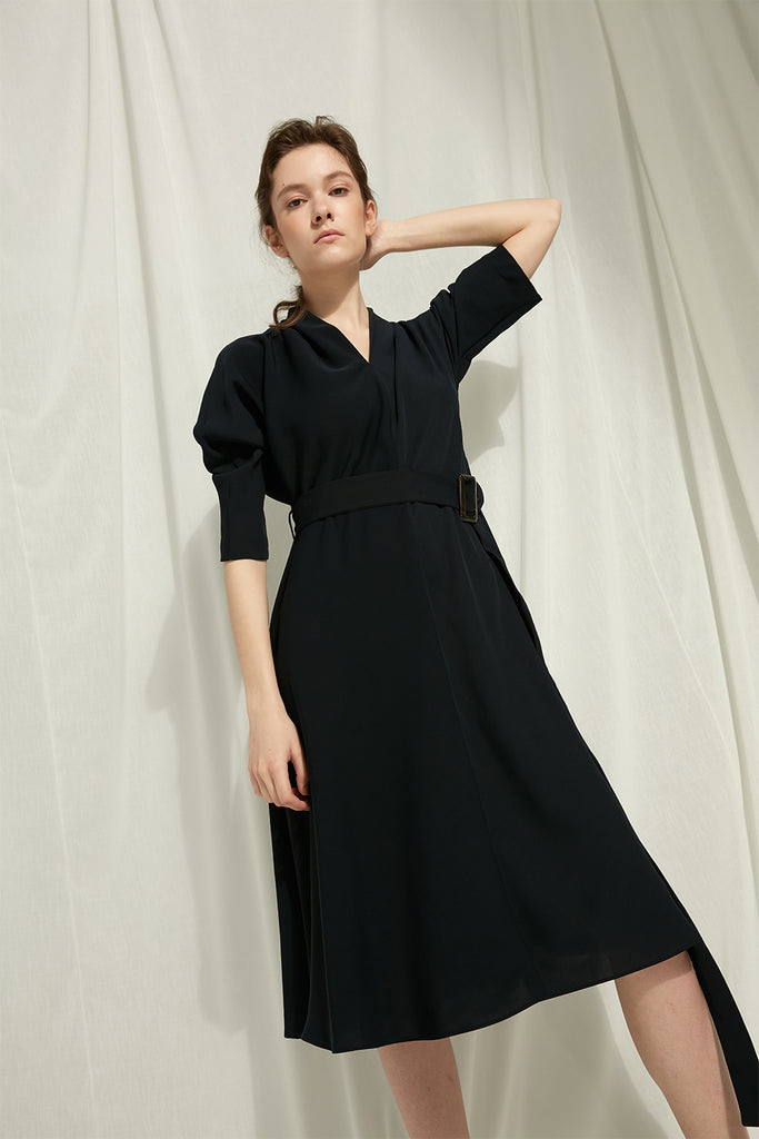 Agatha - Chiffon Belted Dress - Zelle Studio
