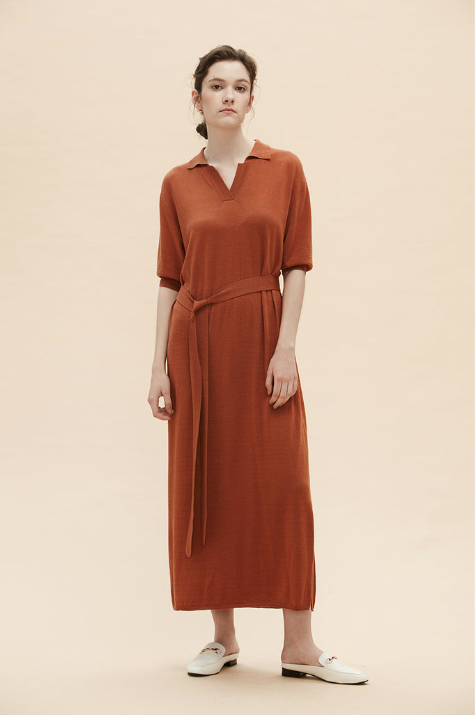 Amber - Longline Knit Collared Dress With Waist Tie - Zelle Studio