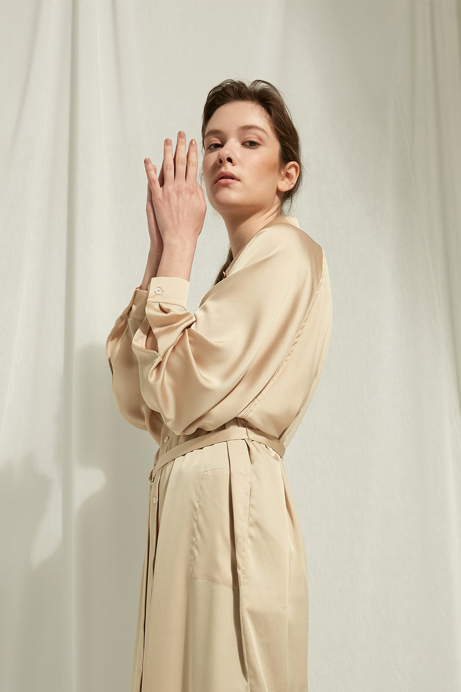 Marcheline - Satin Shirt Dress With Waist Tie - Zelle Studio