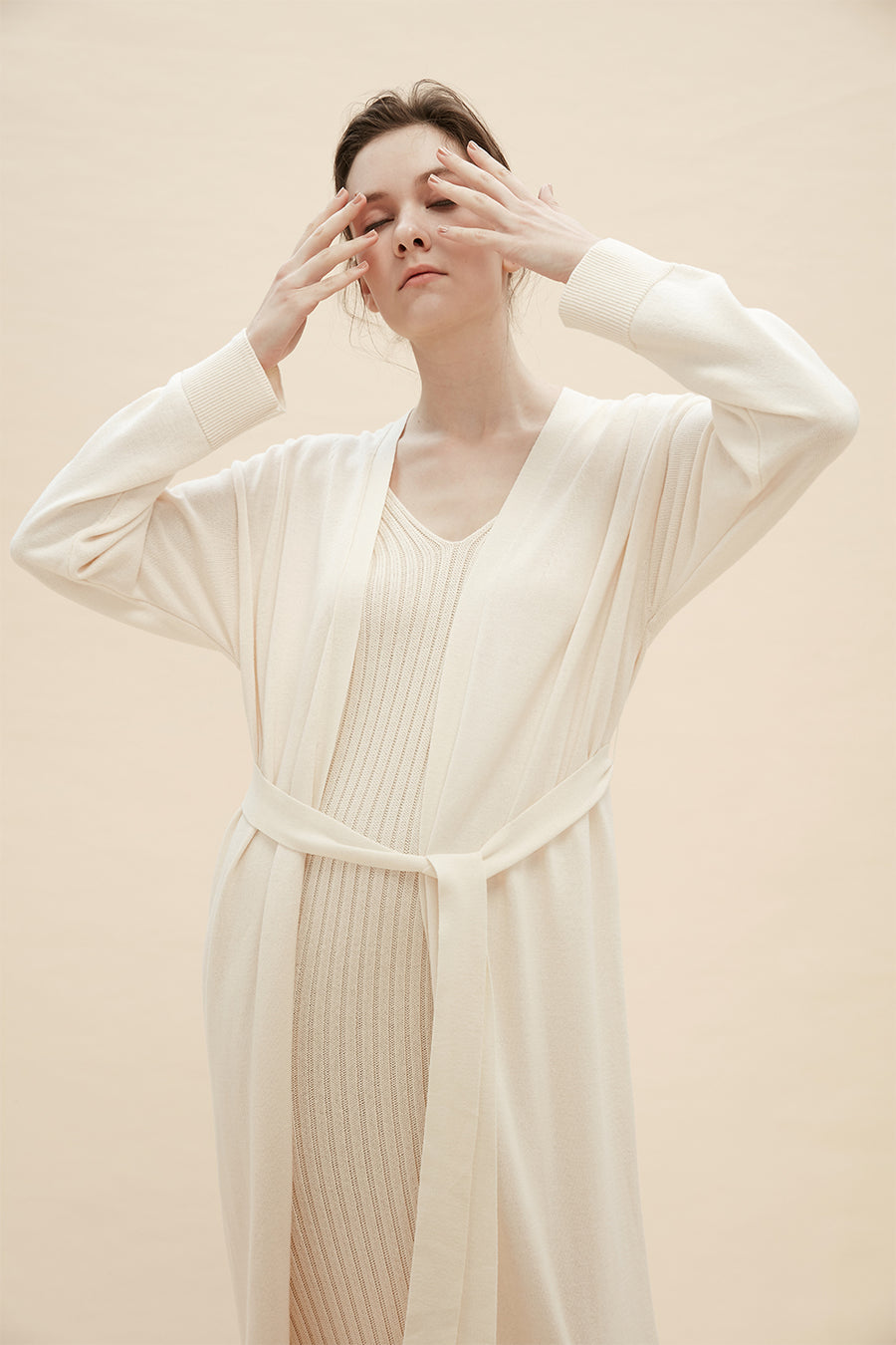 Giovanna - Longline Cardigan With Tie Belt - Zelle Studio
