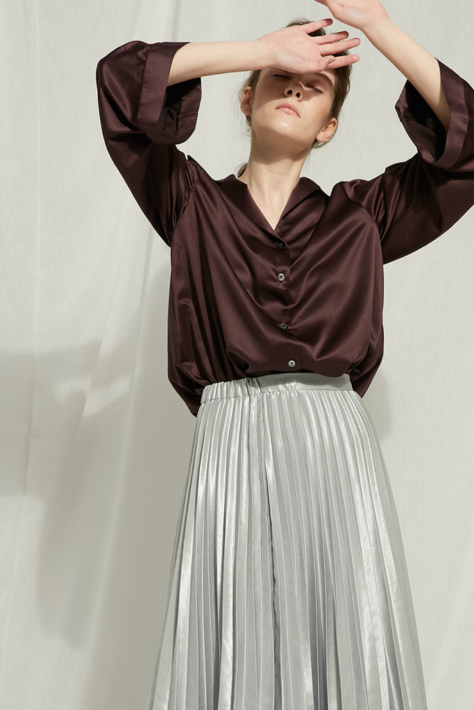 Altalune - Silver Pleated Skirt - Zelle Studio