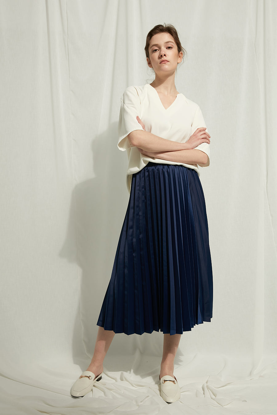 Sarah Jane - Pleated Skirt With Elastic Waist - Zelle Studio