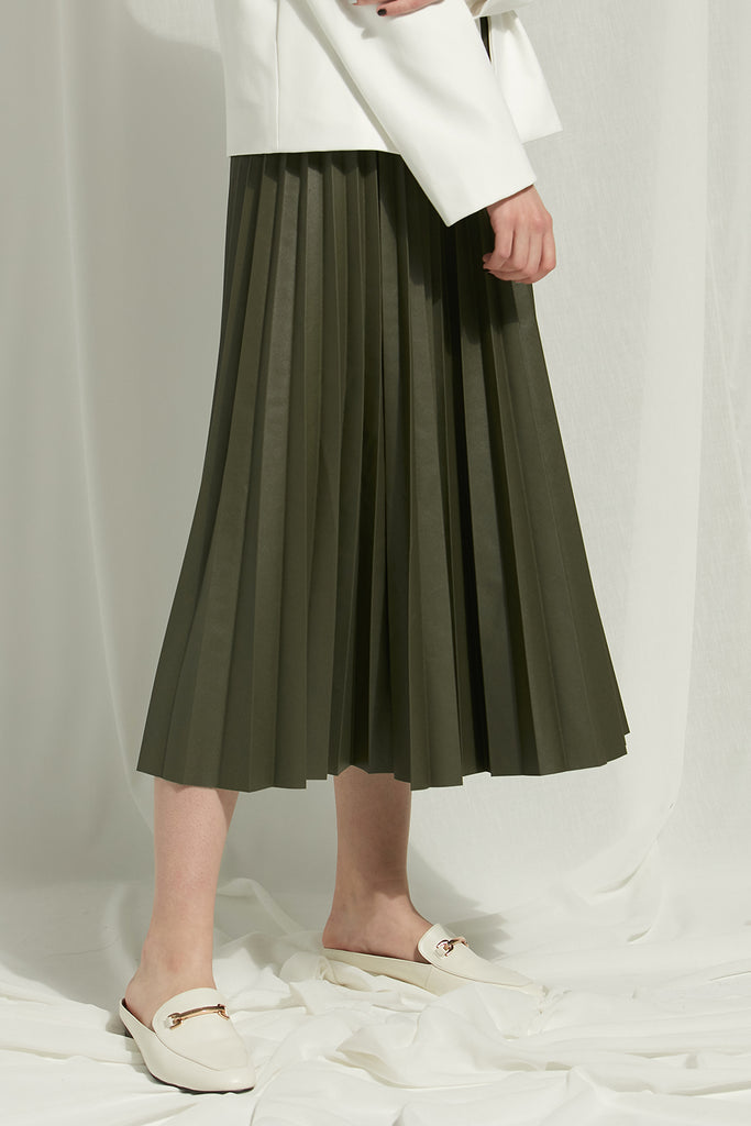 Carol - Pleather Pleated Skirt - Zelle Studio
