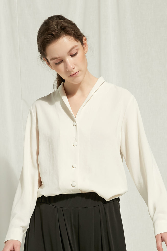 Alys - Shawl Collared Blouse With Fabric-Covered Buttons - Zelle Studio