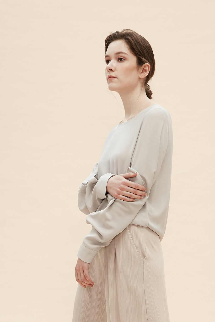 Gladys - Chiffon Blouse With Sleeves Of Folds - Zelle Studio