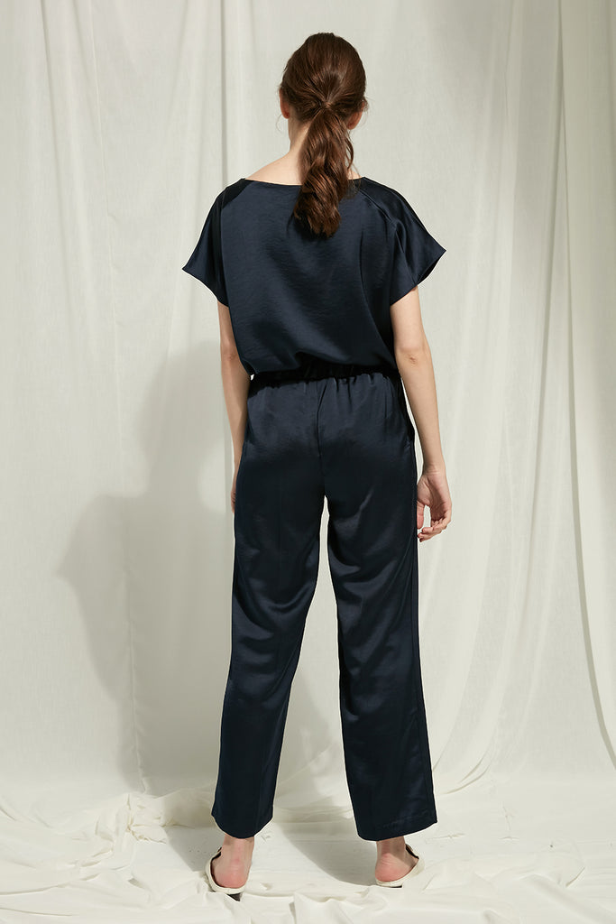 Pearl - Satin Deconstructed Trousers With Pockets - Zelle Studio