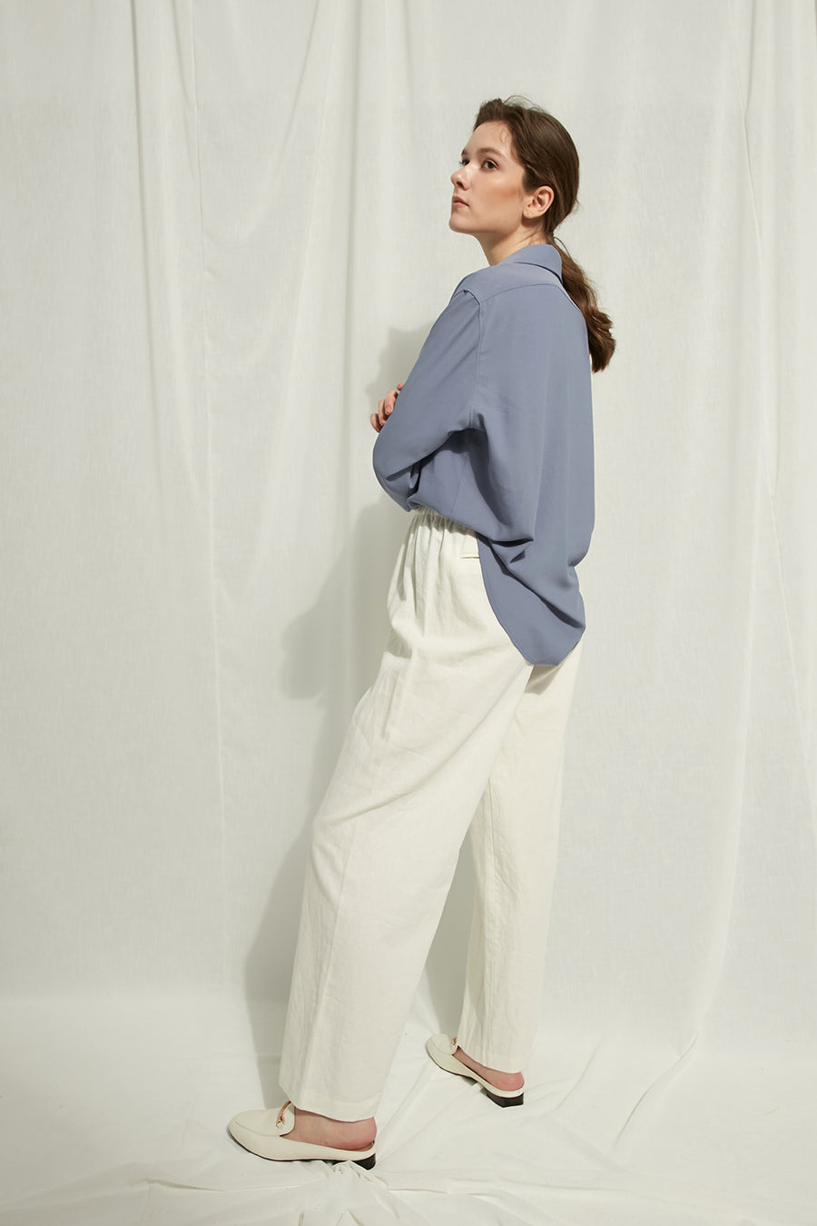 Yessenia - Cotton Linen Trousers With Elastic Waist