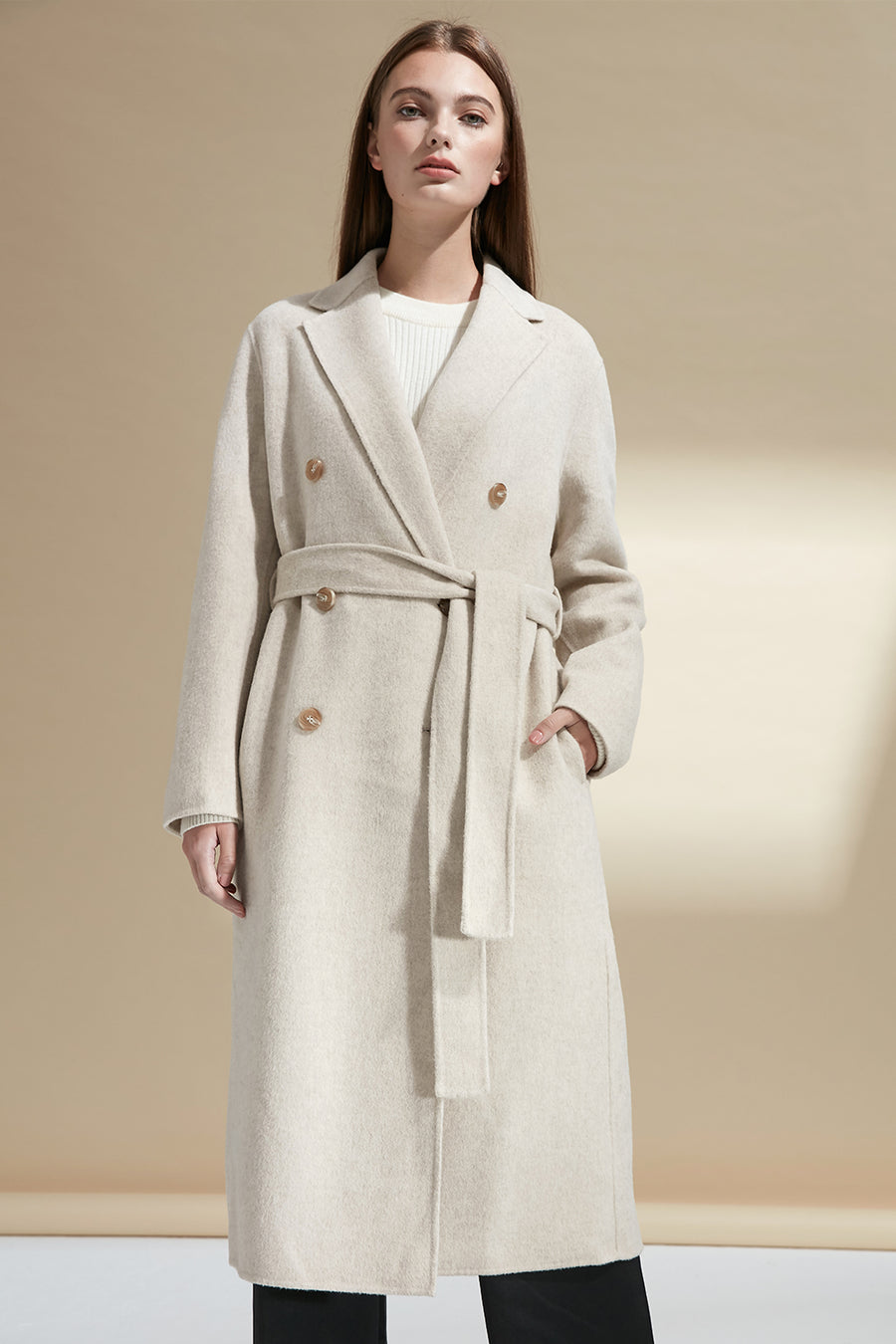 Longline double-breasted wool coat - Zelle Studio