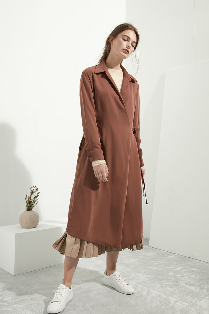 Longline Collared Wrap Dress - Zelle Studio