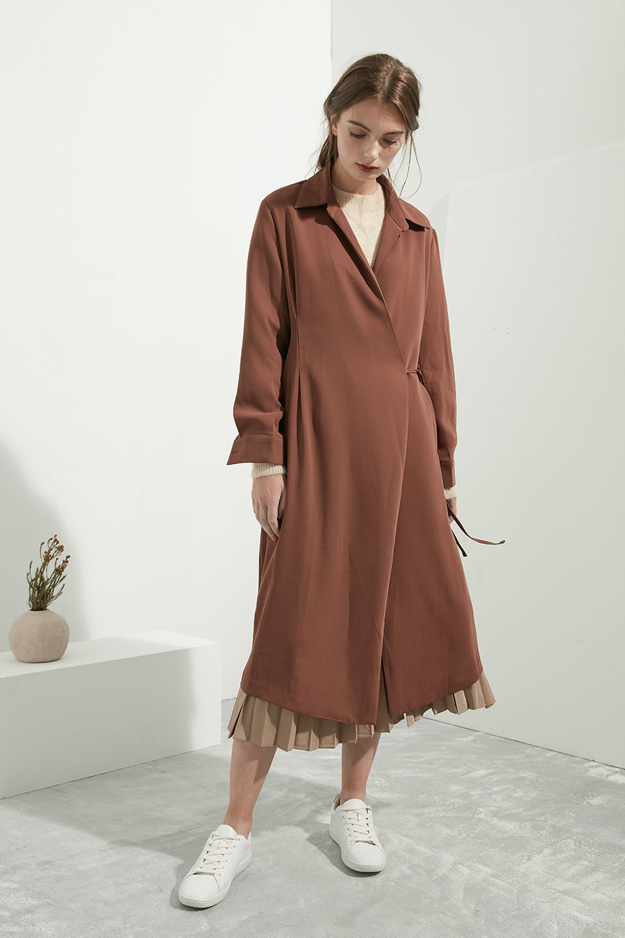 Longline Collared Wrap Dress