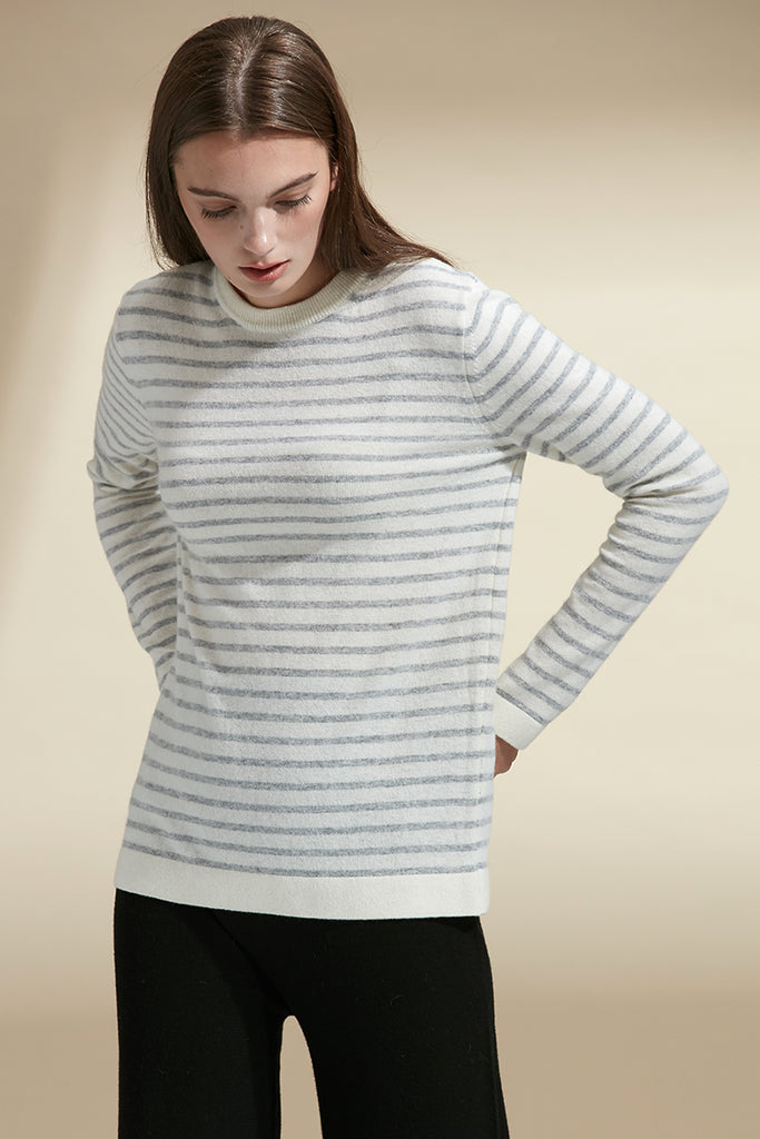 Striped crewneck wool jumper