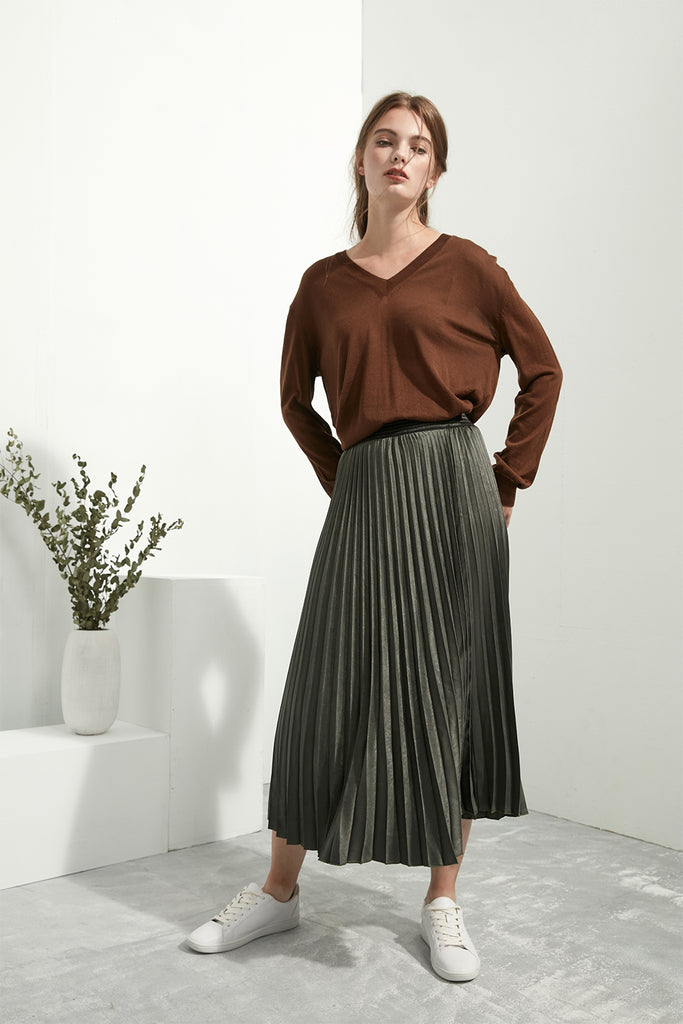 Pleated Velvet Skirt - Zelle Studio