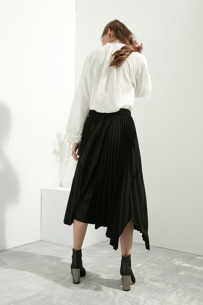 Asymmetrical Pleated Skirt - Zelle Studio