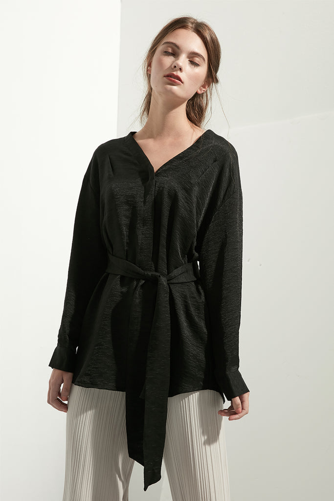 Textured Blouse With Waist Tie - Zelle Studio