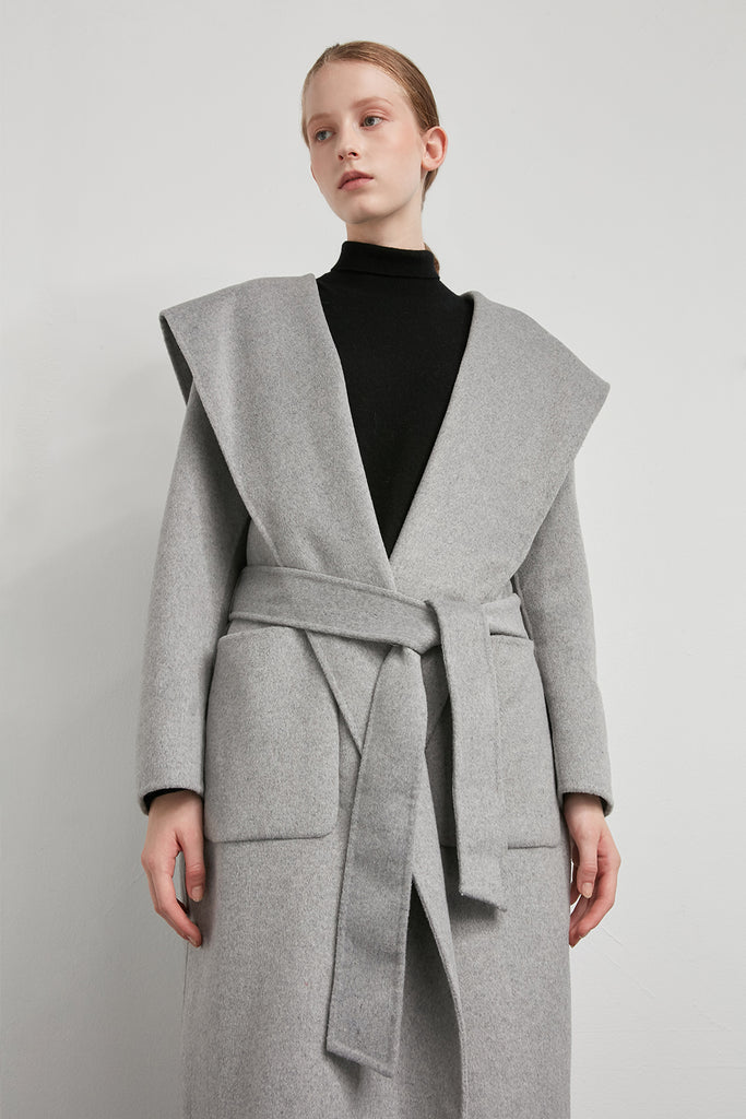Handmade oversized hooded wool coat