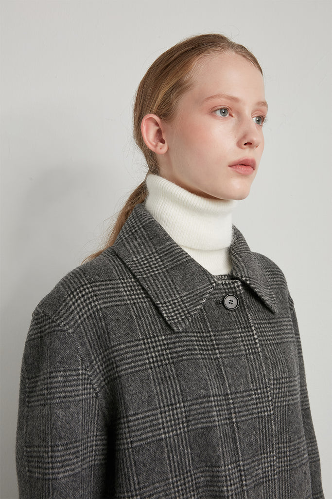 Oversized wool checked coat - Zelle Studio