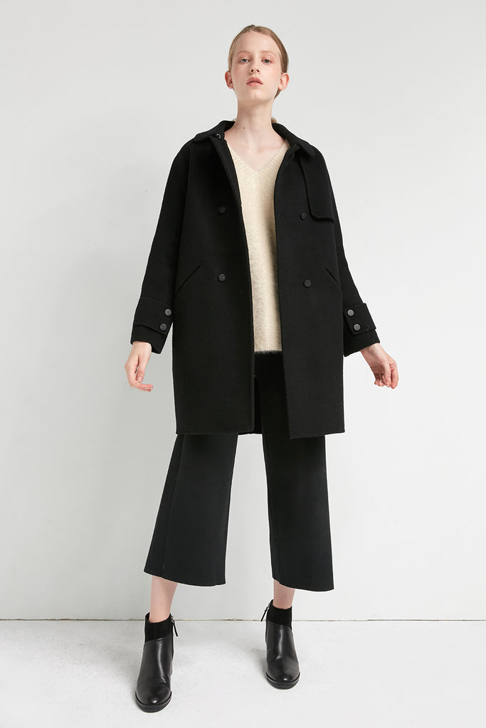 Black wool-blend coat - Zelle Studio