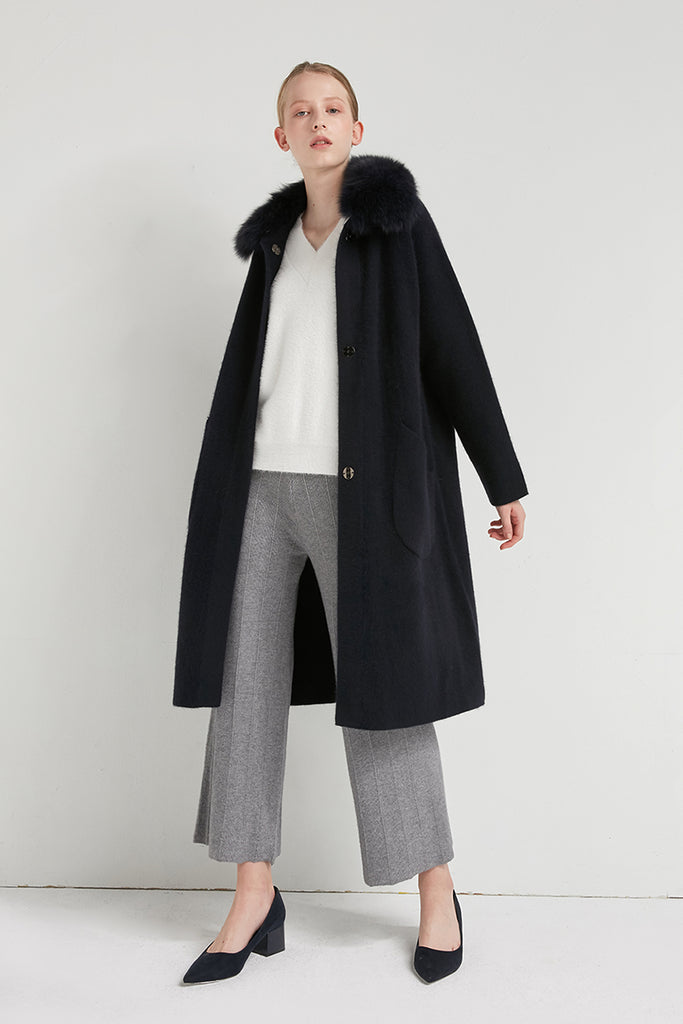 Cashmere and alpaca-blend coat with fox fur collar - Zelle Studio