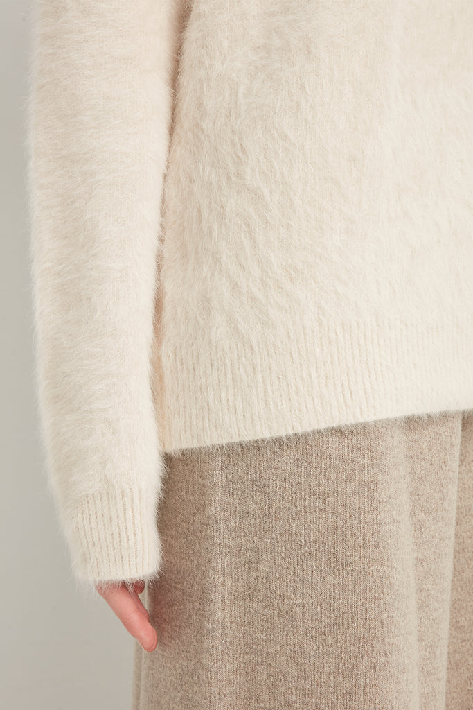 Wool and angora-blend crewneck pullover