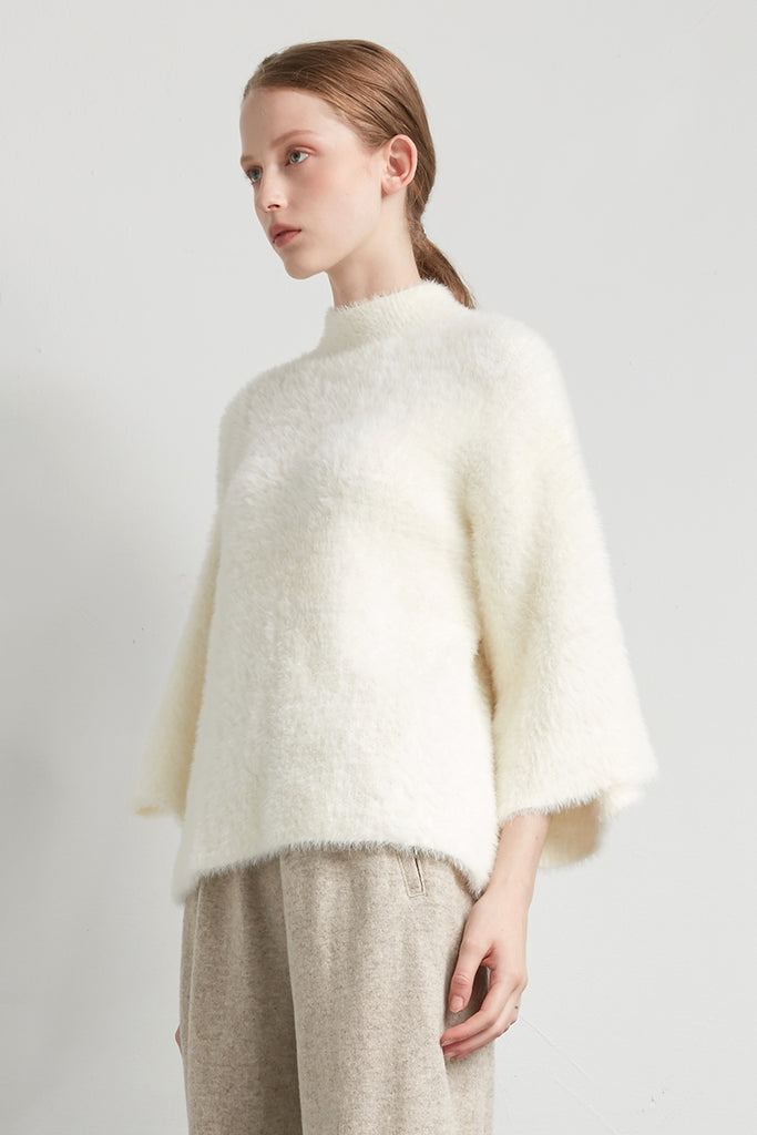 Fluffy feather crewneck pullover - Zelle Studio
