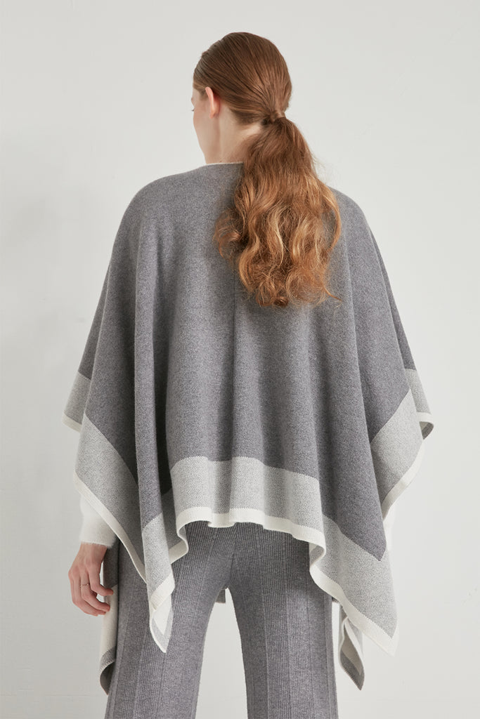 Wool-blend colour block poncho