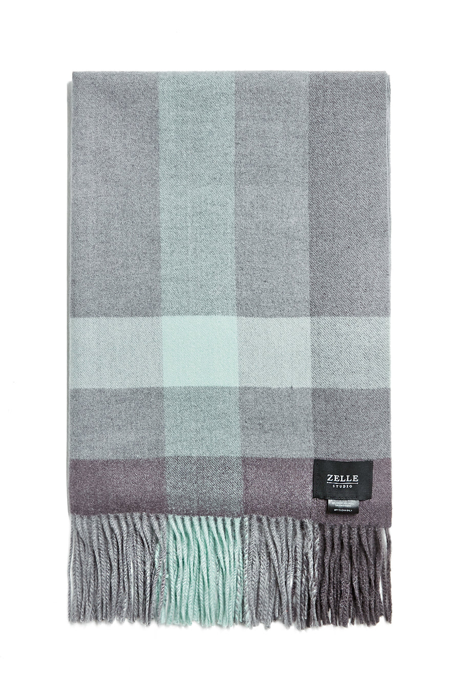 Oversized cashmere-blend checked scarf - Zelle Studio