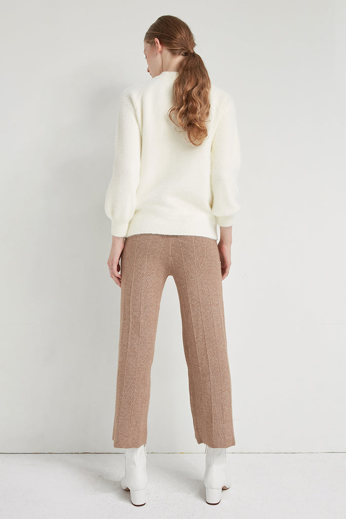 Wool-blend knitted trousers