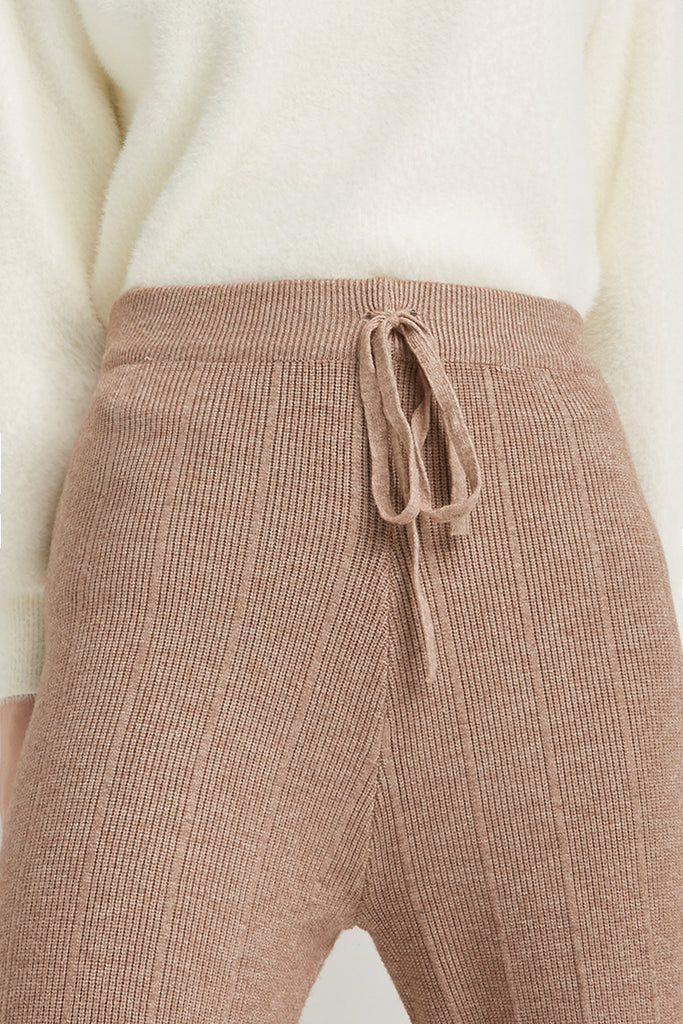 Wool-blend knitted trousers - Zelle Studio