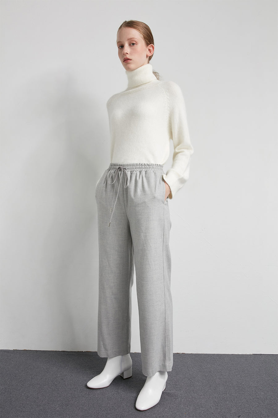 Elasticated wool-blend trousers - Zelle Studio