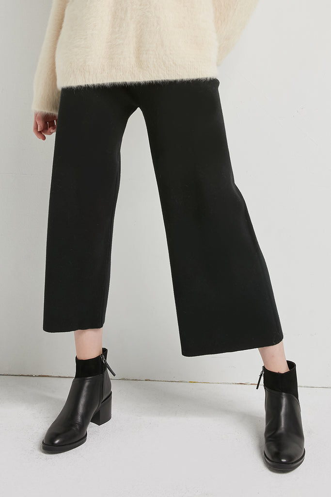 Elasticated wool-blend knitted trousers - Zelle Studio