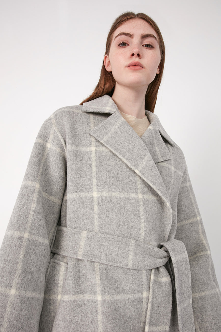 Soft grey wool checked coat - Zelle Studio