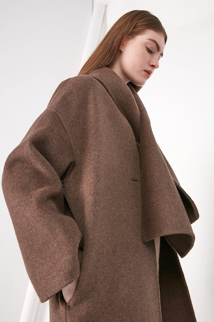 Oversized wool scarf coat - Zelle Studio