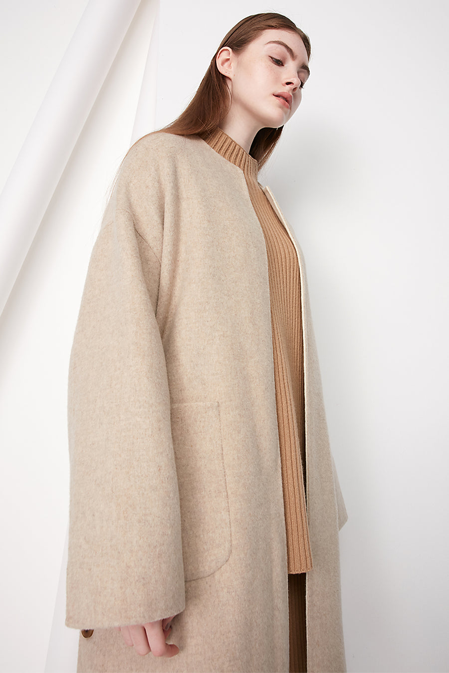 Double-faced wool cocoon coat - Zelle Studio