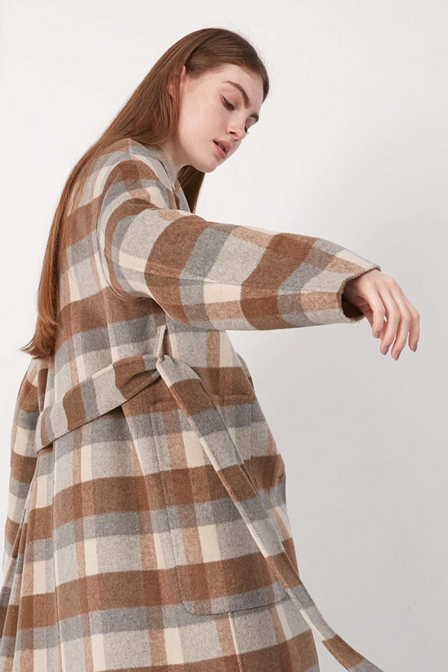 Caramel checked wool coat - Zelle Studio