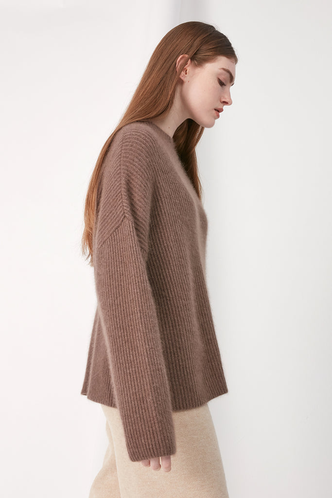 Ribbed melange wool and raccoon-blend jumper - Zelle Studio