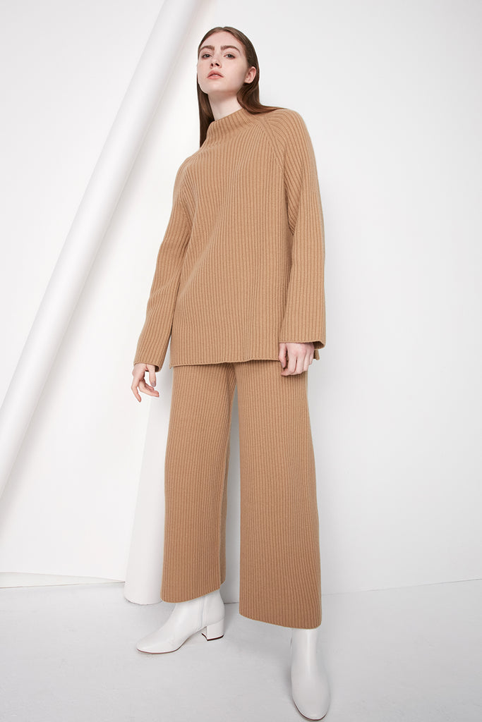 Cashmere and wool ribbed trousers - Zelle Studio