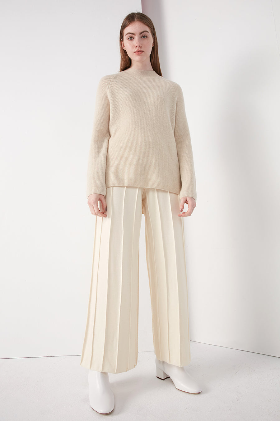 Pintuck wide leg trousers - Zelle Studio