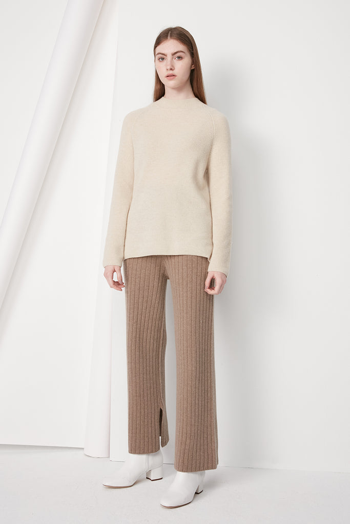 Wool-blend ribbed trousers