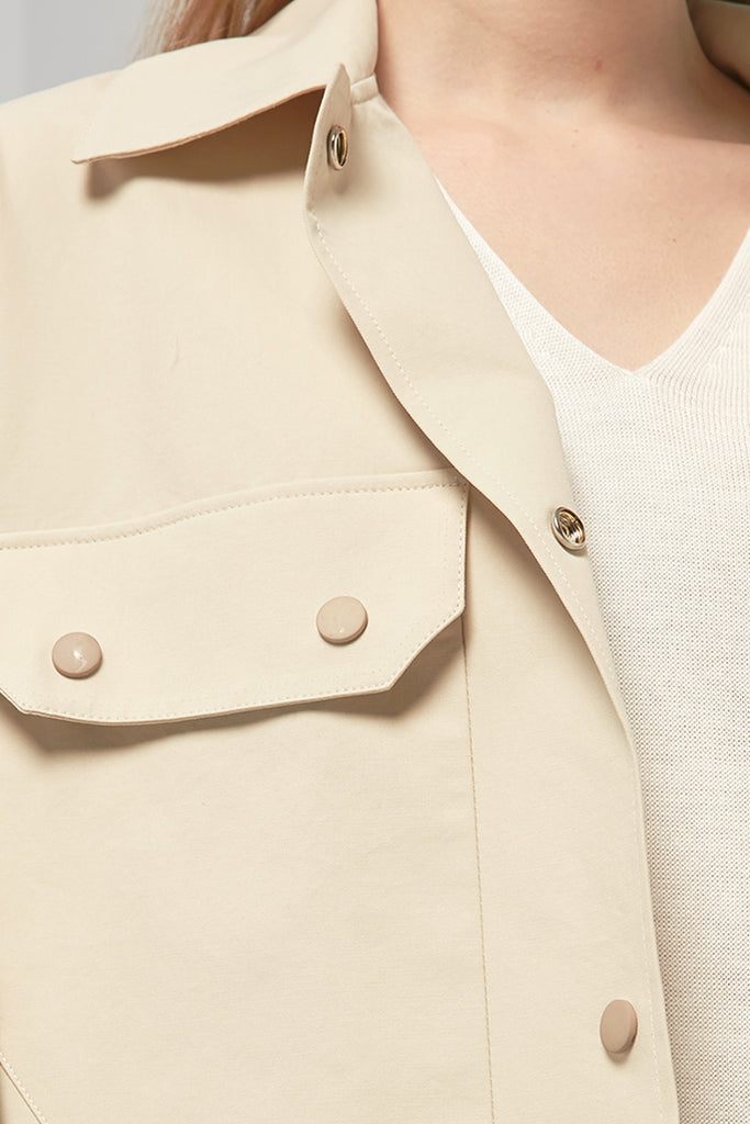 Short belted cotton jacket