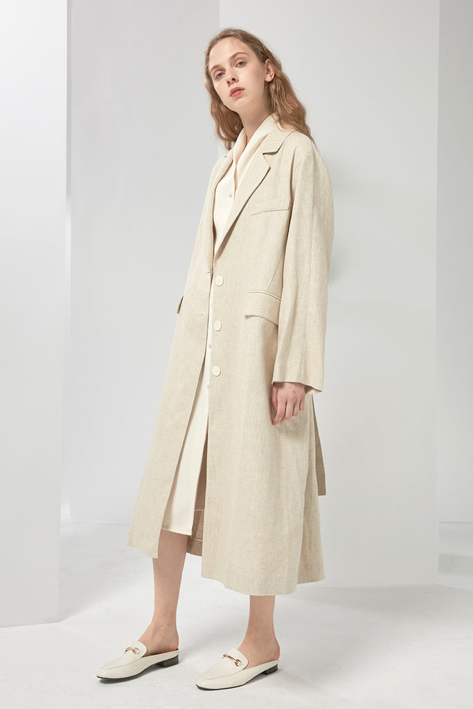Oversized linen and cotton-blend coat - Zelle Studio