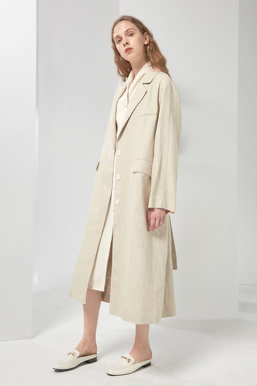 Oversized linen and cotton-blend coat