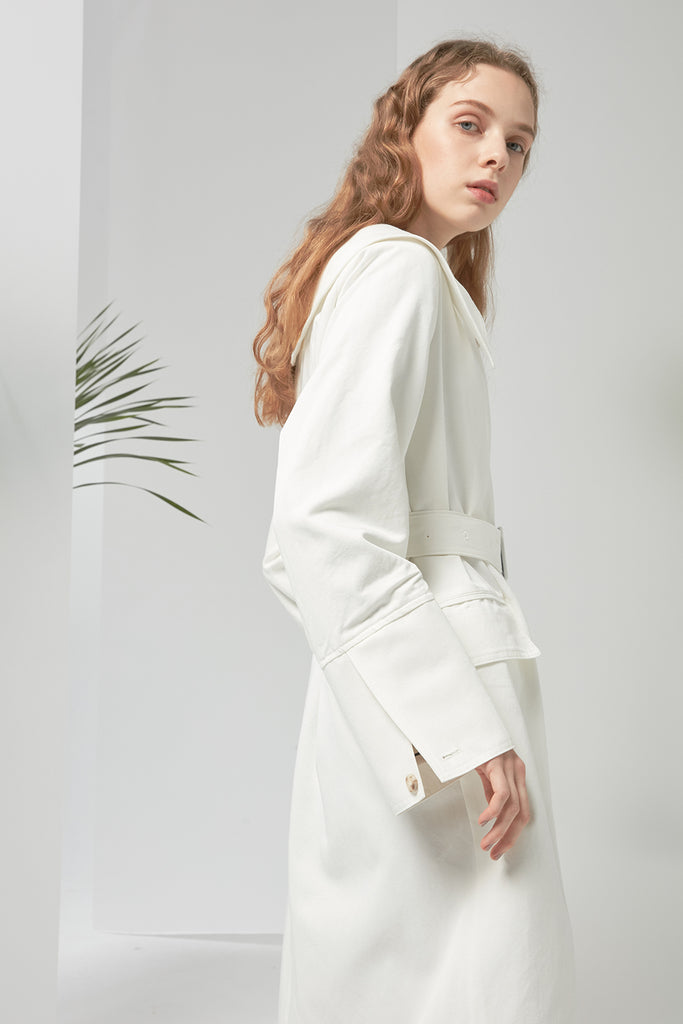 Oversized collar cotton-blend coat - Zelle Studio
