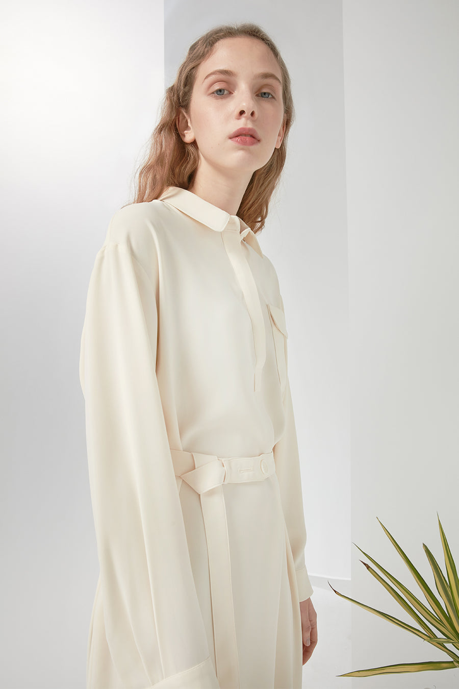 Pearl chiffon shirt dress